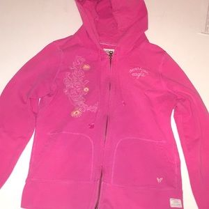 American Eagle Zip up Pink hooded jacket size  M